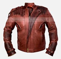 Guardians of the Galaxy 2 Star Lord Chris Pratt Brown Real Leather Jacket