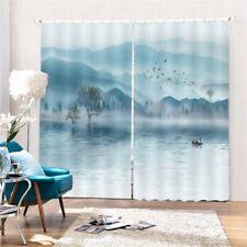 Blue Mountains Lake 3D Curtain Blockout Photo Printing Curtains Drape Fabric