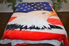 ☀�New 5 Pounds Soft Full / Queen Korean Mink Blanket Plush Bald Eagle Usa Flag