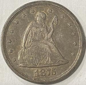 1875-S 20 Cent Piece. Original Problem Free Nice AU