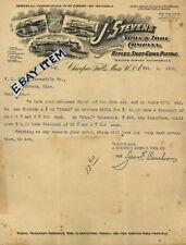 1905 LETTERhead J STEVENS ARMS & TOOL Chicopee FaLLs Massachusetts PAGE FAY MUZZ
