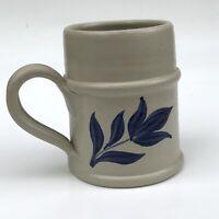 Williamsburg Pottery Coffee Mug Stein Salt Glazed 1994 Blue Leaf Flower