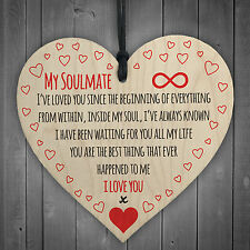 My Soulmate I Love You Wooden Hanging Heart Plaque Cute Valentines Day Gift Sign