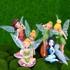 6pcs Tinker Bell Fairies Princess Figures PVC Doll Toy Cake Topper Secret  Wing