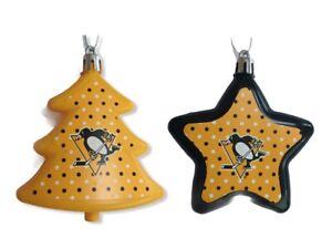 Pittsburgh Penguins NHL Ice Hockey Christmas Tree Star Decorations 2 Set