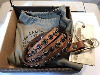 """CAMPOMAGGI Ceinture en cuir vintage cognac avec clous """"Larimar"""" C009980ND 105 CM"""