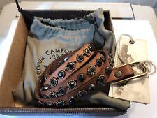6f41359289e Campomaggi Ceinture en Cuir Vintage Cognac avec Clous