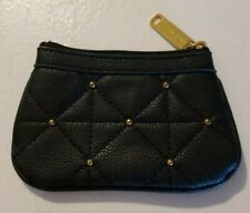 STEVE MADDEN Small Black Purse Pouch, Faux Studded Lined Leather, Zippered Top