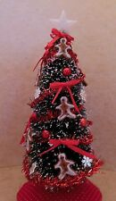 Dollhouse miniature1:12 handcrafted Christmas tree w/gingerbread boy decorations
