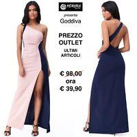Vestito Donna Abito Lungo Cerimonia Bicolore Outlet Party Maxi Dress CG-DR2348