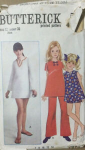 VTG 60s 70s Butterick Sewing Pattern Childs Semi Fitted A-Line Dress Age 12
