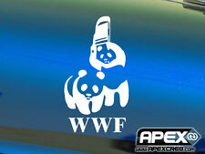 WWF-lucha Wildlife Federation Wwe parodia Panda Gracioso Pegatina De Vinilo-Blanco