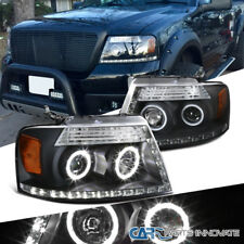 04-08 Ford F150 06-08 Lincoln Mark LT Black Dual Halo LED Projector Headlights