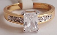 18K GOLD EP 1.6CT DIAMOND SIMULATED EMERALD CUT RING size 9 OR 1/2