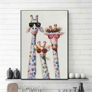 New Art Colorful Oil Animal Giraffe A Family  Painting  Picture  Canvas Printing