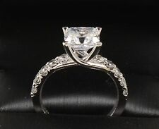 2.80TCW Emerald Brilliant Cut 14k Solid White Gold engagement & Wedding Ring