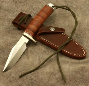 Randall Style Clip Point Leather Stacked Stainless Steel ButtCap Knife  by O.E.