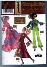 """Simplicity 9975 Barbie 11 1/2"""" Doll Hippie 1970s Mod Dress Pattern Vintage Uncut"""