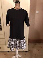 ASOS Ladies Black White Animal Print Short Sleeve Shift T Shirt Dress Size 8