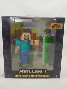 """NEW Minecraft Survival Mode Defend & Discover Steve 5"""" Figure W/ Action Features"""