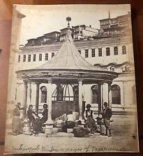 LARGE ORIGINAL ANTIQUE PHOTO OF MOSQUE FOUNTAIN CONSTANTINOPLE TURKEY MUSLIM