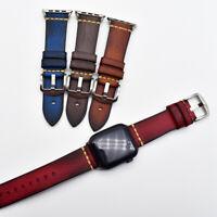 Bracelet de Montre en Cuir Véritable Apple Watch Band 1/2/3/4/5 38 40 42 44mm