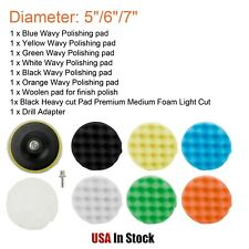 "9Pack 5""/6""/7"" Car Buffing Pad Polishing Buffer For Drill Sponge Kit Waxing Foam"