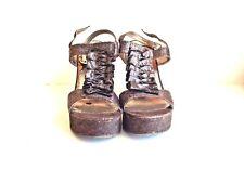 Steve Madden Quantumm Ruffle T-Strap Cork Wedge Heels Sandals Brown Shimmer 9.5M