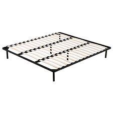 New King Metal Bed Frame Wooden  timber Slat Bed Base Black Bedroom Furniture