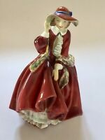 """Vintage Royal Doulton """"Top Of The Hill"""" Lady In Red Dress Bone China Figurine"""