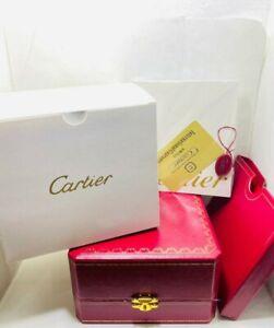 Luxury Wooden Cartier Watch Box Leather Red Case  Set Women Men