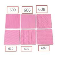 Non-toxic Silicone Pink Mold Knitting Fondant Texture Baking Mat M Embossed U6T4