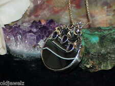 Sterling Silver Black Lace Agate 3 Pear Amethyst 46.8g Pendant Necklace Custom