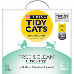Purina Tidy Cats Free & Clean Clumping Multi Cat Litter, Unscented, 40 lb ✔️✔️✔️