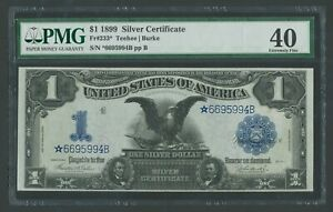 FR233* $1 1899 SILVER CERTIFICATE STAR NOTE PMG 40 CHOICE XF WLM9634