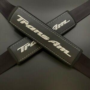 Black Seat Belt Shoulder Pads Covers Silver embroidery Fit Pontiac Trans Am 2pcs