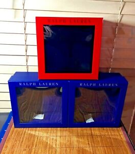 "Ralph Lauren Polo Empty Gift Boxes Blue & Red Lot of (3) 8 1/4""x3 1/4"" Clean New"