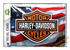 Carte postale en métal HARLEY DAVIDSON plaque moto drapeau usa us flag postcard