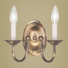 NEW 2 Light Colonial Candle Wall Sconce Lighting Fixture, Antique Brass, Livex