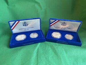 2x United States Liberty Coins Silver Dollar / Half Dollar 1886-1986 Blue Cases