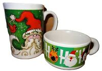 Coffee Mugs Santa Christmas Soup Mug Xmas Ho Ho Ho 2 Pc Lot Tall & Short LB