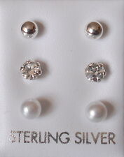Brand New Sterling Silver, Pearl & Crystal Stud Earrings Set of 3 - Boxed