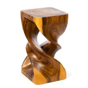 """Double Twist Side Table/Stool/Solid Wood/Lamp Table/Plant Stand/Honey 20"""""""