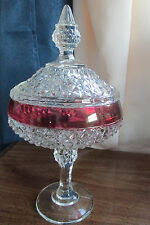 INDIANA GLASS DIAMOND POINT RUBY FLASHED,  COVEREDCANDY DISH VINTAGE