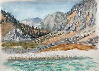 Karl Adser 1912-1995 View by The Sea IN The Landesinnere Nanou Bay Symi Greece