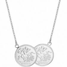 """Sovereign Necklace Solid Sterling Silver Ladies Pendant 17 """""""