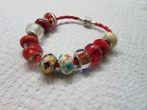 Genuine Pandora S925 ALE Red Braided Leather 7.5 Bracelet w 9 Beads