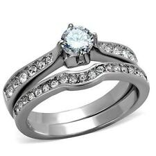 Silver 316 Steel CZ Engagement Wedding 2 Ring Set Size 5 6 7 8 9 10 J L N P R T