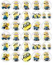 30 X Minions Despicable Me Cupcake Toppers Comestible Oblea Papel Hada Cake Toppers