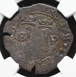 SANTO DOMINGO, Carlos & Joanna, 1516-56, 4 Maravedis, NGC XF Details